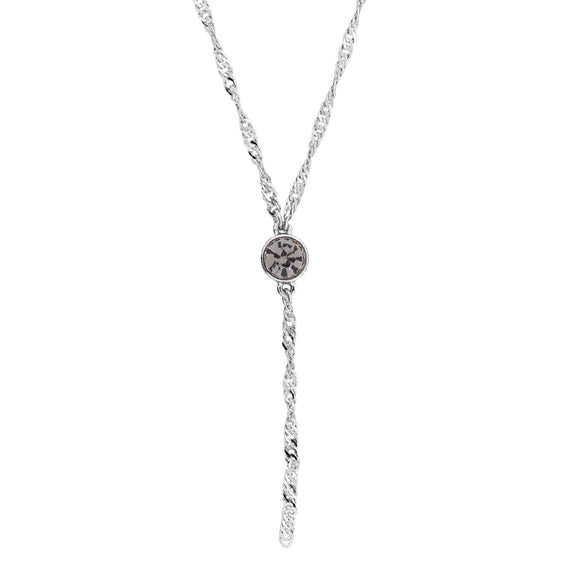 Silver Tone Black Diamond Color Crystal Y Necklace Chain 16  Adj.