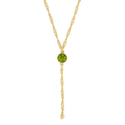 Gold Tone Green Olivine Color Crystal Y Necklace Chain 16 In Adj