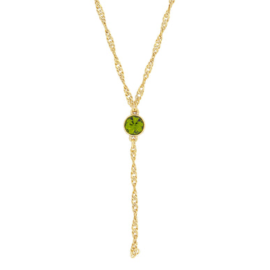 Gold Tone Green Olivine Color Crytal Y Necklace Chain 16 Adjustable