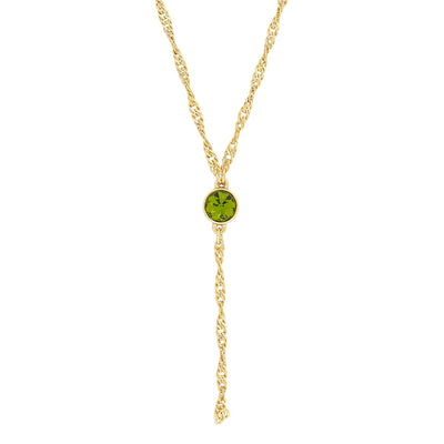 Gold Tone Crystal Y Necklace Chain 16 - 19 Inch Adjustable