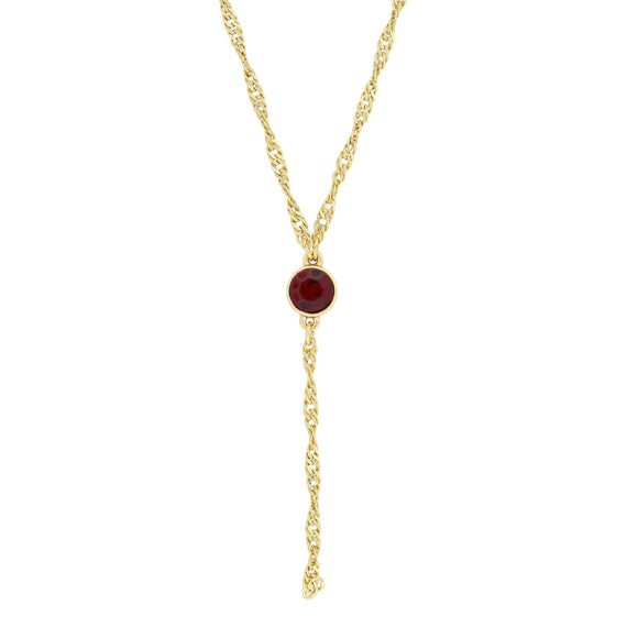 Gold Tone Red Crystal Y Necklace Chain 16  Adj.