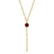 Gold Tone Crystal Y Necklace Chain 16 - 19 Inch Adjustable Red