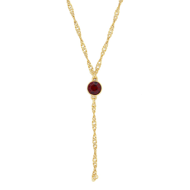 Gold Tone Crystal Y Necklace Chain 16   19 Inch Adjustable Red