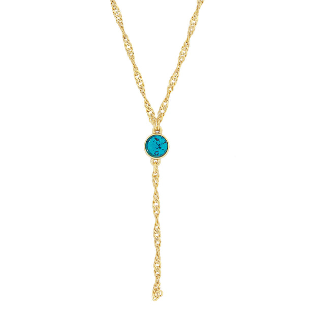 Gold Tone Crystal Y Necklace Chain 16   19 Inch Adjustable Blue
