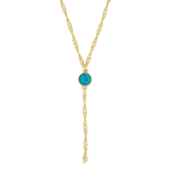 14K Gold Dipped Blue Zircon Color Crystal Y Necklace Chain 16