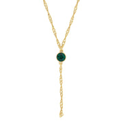 Gold Tone Crystal Y Necklace Chain 16   19 Inch Adjustable Dark Green