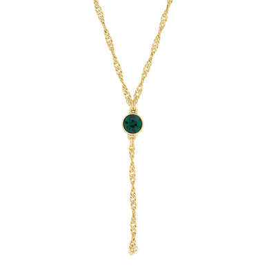 Gold Tone Green Emerald Color Crystal Y Necklace Chain 16  Adjustable