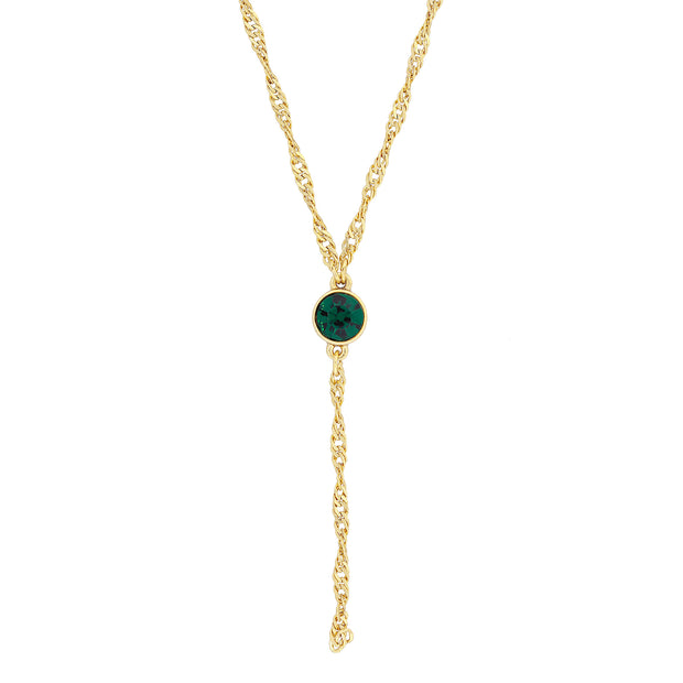 Gold Tone Crystal Y Necklace Chain 16 - 19 Inch Adjustable Dark Green