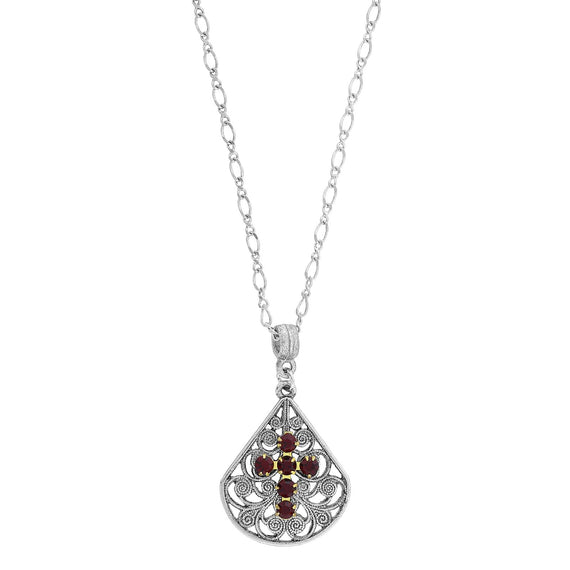 Pewter Brass Filigree Red Crystal Cross Teardrop Necklace