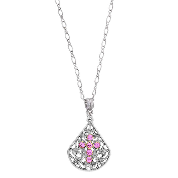 Pewter Brass Filigree Pink Crystal Cross Teardrop Necklace