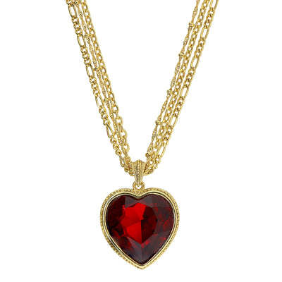 1928 Jewelry Gold Tone Crystal Red Heart Multi Chain Necklace 16 Adj.