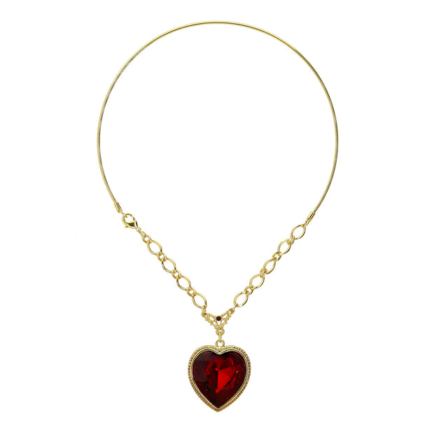Gold Tone Crystal Red Heart Wire Choker Necklace 16 Inch