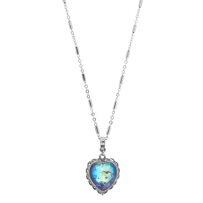1928 Jewelry Pewter Aurora Borealis Swarovski Crystal Heart Necklace 16 - 19 Inch Adjustable