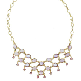14k Gold Dipped Oval Light and Dark Amethyst Colored Stones And Beads Bib Necklace