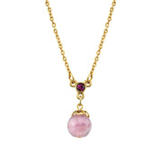 Gold Tone Lt. Amethyst Color Round Bead Drop Necklace 16   19 Inch Adjustable