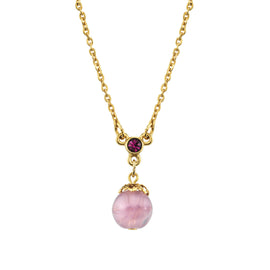 14k Gold Dipped Light Amethyst Color Round Bead Pendant Necklace