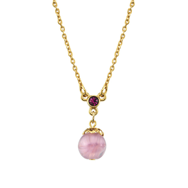 Gold Tone Lt. Amethyst Color Round Bead Drop Necklace 16 - 19 Inch Adjustable