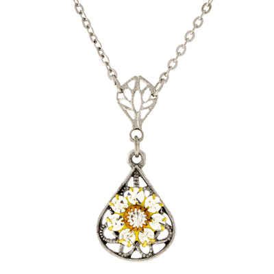 Pewter Crystal Flower Teardrop Necklace 16 - 19 Inch Adjustable