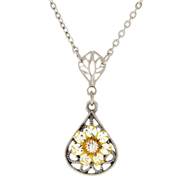 Pewter Brass Filigree Crystal Flower Teardrop Necklace 16in Adj