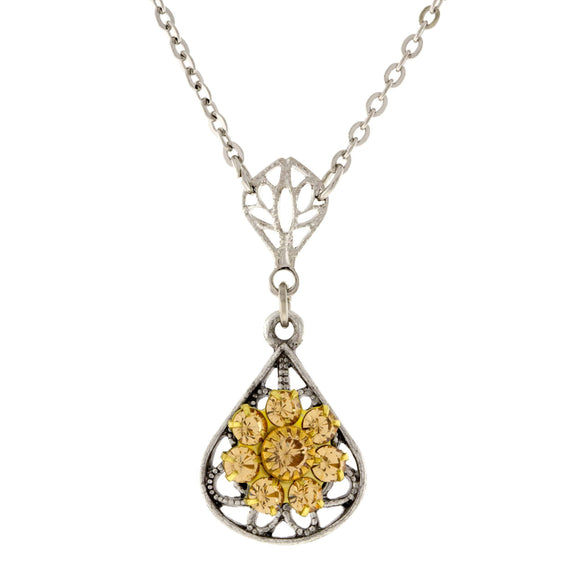 Pewter Brass Filigree Lt Colorado Flower Teardrop Necklace 16in Adj