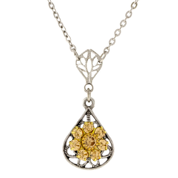 Pewter Crystal Flower Teardrop Necklace 16in Adj Yellow
