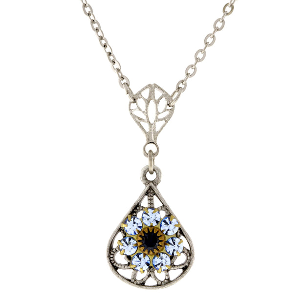 Pewter Crystal Flower Teardrop Necklace 16in Adj BLUE
