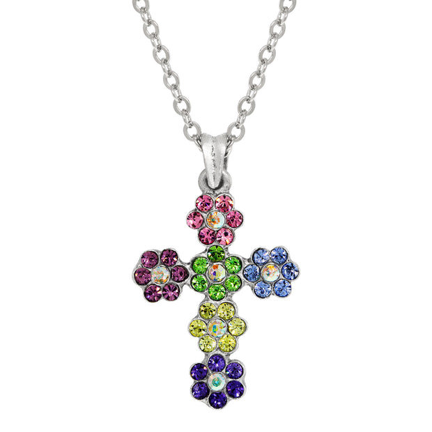 Silver Tone Multi Color Flower Cross Necklace 16   19 Inch Adjustable