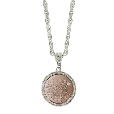 Silver-Tone and Rose Gold-Tone  Tree of Life  Pendant Necklace 16 In Adj