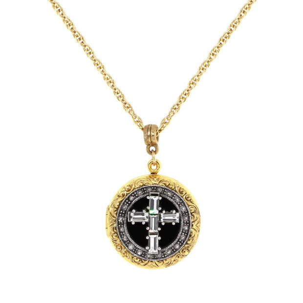 Gold & Silver Tone Crystal Cross Locket 16   19 Inch Adjustable