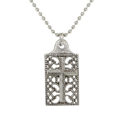 Pewter Cross Square Dog Tag Pendant  22 In