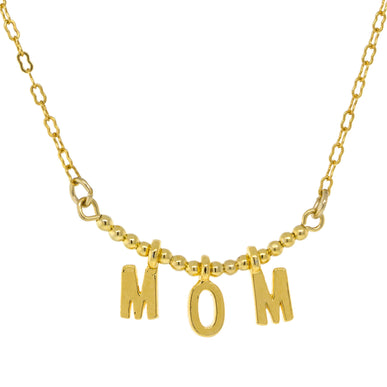 Gold Tone Initial MOM Minimalist Petite Necklace 16  Adj. -Mother's Day