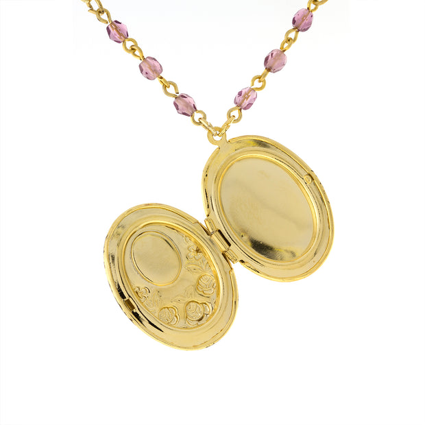1928 Jewelry Gold Tone Pink And Purple Flower Beaded Locket Necklace 18 - 21 Inch Adjustable
