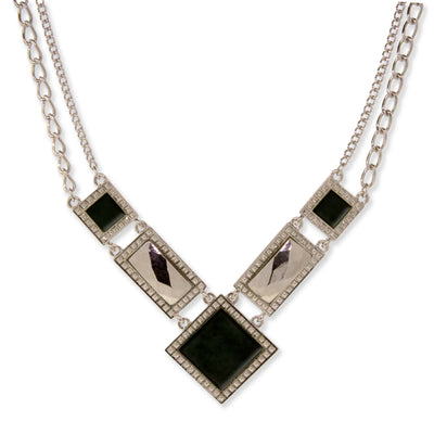 Silver Tone Gemstone Square Chain Necklace 16 - 19 Inch Adjustable