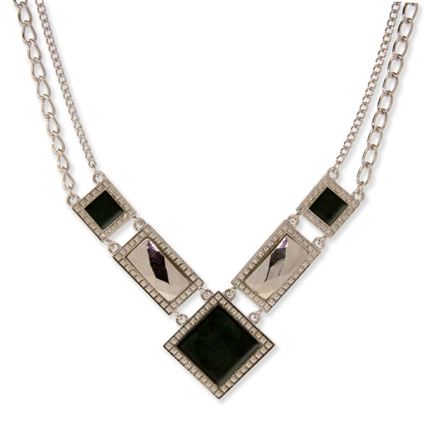 Silver Tone Blue Sodalite Semi Precious Square Chain Necklace