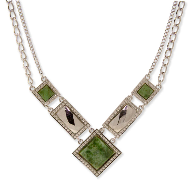 Silver Tone Semi Precious Square Chain Necklace Jade