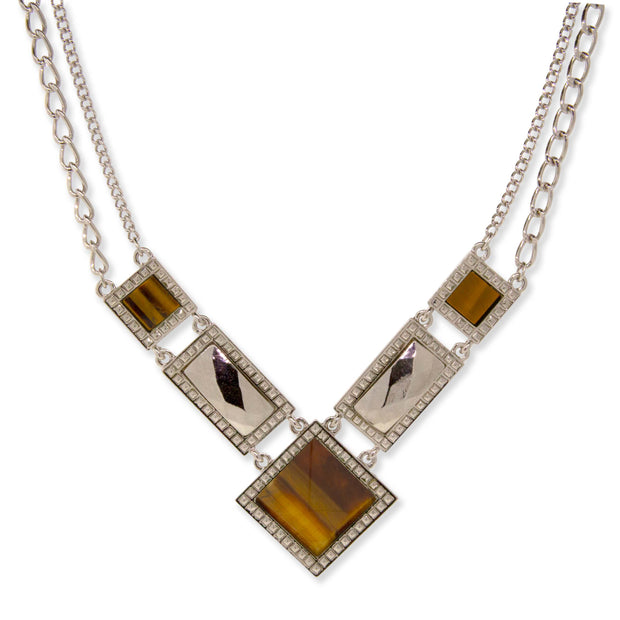 Silver Tone Semi Precious Square Chain Necklace Tigers Eye