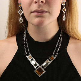 Silver Tone Tiger Eye Square Rectangle Chain Necklace