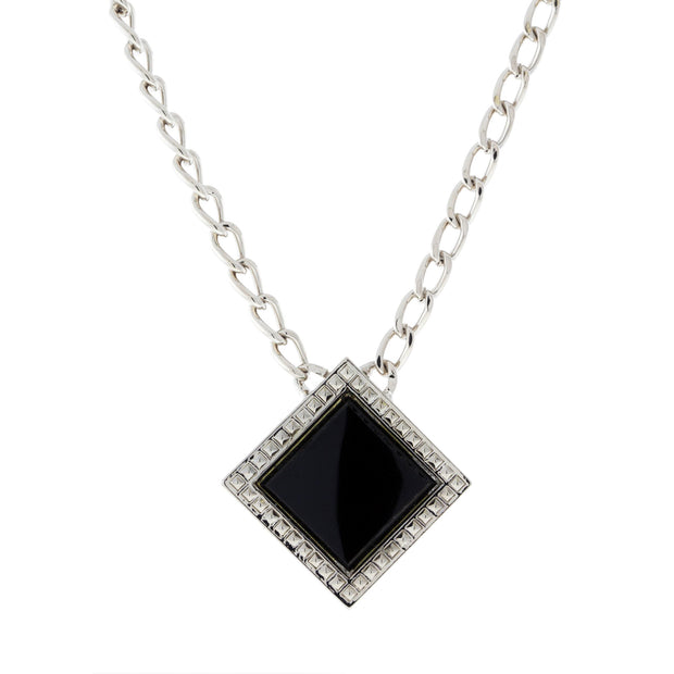 Silver Tone BLACK ONYX Gemstone Square Necklace 16 - 19 Inch Adjustable