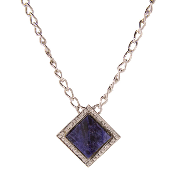 Silver Tone Blue Sodalite Gemstone Square Necklace 16 - 19 Inch Adjustable