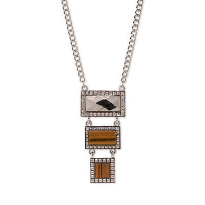 Silver Tone Tiger Eye Gemstone Rectangle Square Drop Necklace 16 In Adj