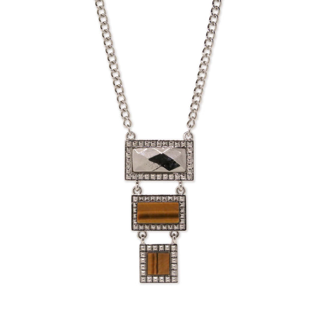 Silver Tone Tiger Eye Gemstone Rectangle Square Drop Necklace 16 - 19 Inch Adjustable