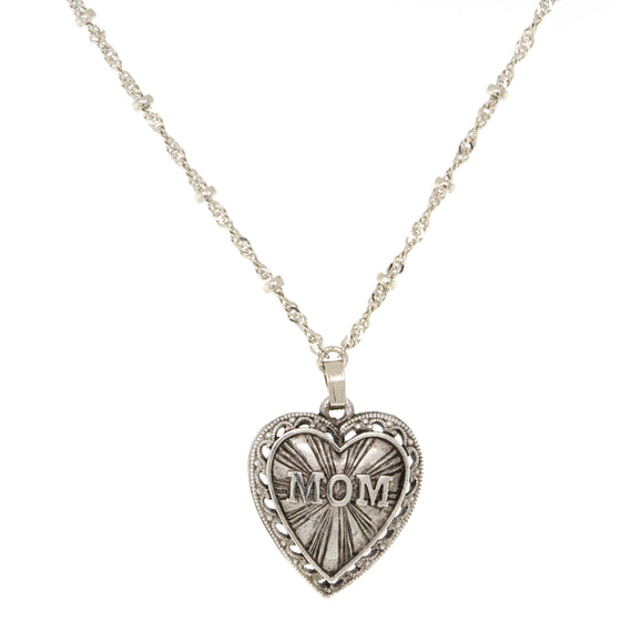 Pewter Tone MOM Heart Charm Pendant Necklace 16  Adj.