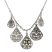 Pewter Round Crystal Flower Multi Teardrop Necklace 16   19 Inch Adjustable