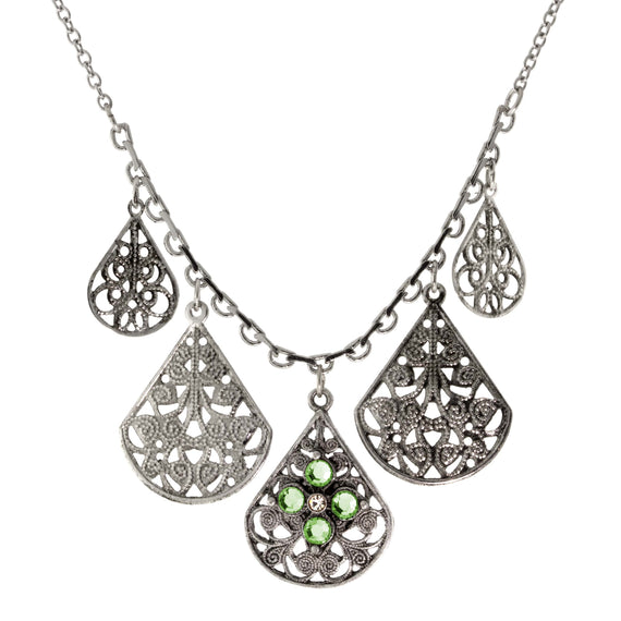 Pewter Round Crystal Flower Multi Teardrop Necklace 16