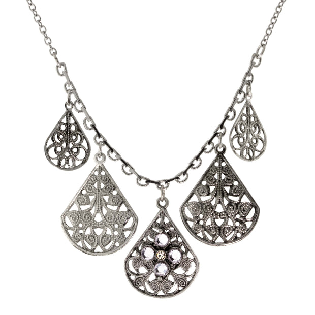 "Pewter Round Crystal Flower Multi Teardrop Necklace 16"" Adj. Crystal Clear"