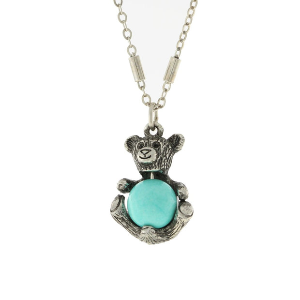 Pewter Round Semi Precious Turquoise Teddy Bear Necklace