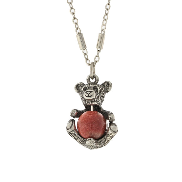Pewter Round Semi Precious Goldstone Teddy Bear Necklace