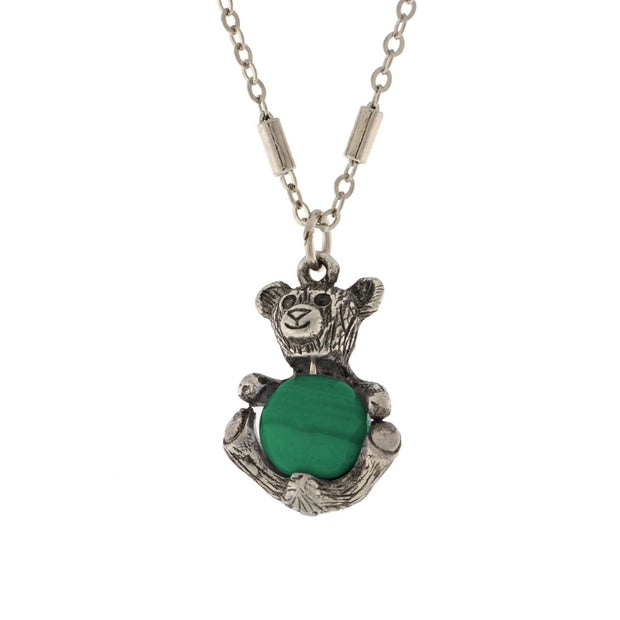 Pewter Round Semi Precious Malachite Teddy Bear Necklace