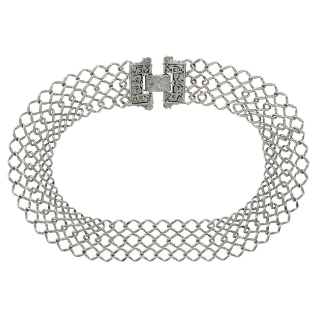 Silver-Tone Collectanea Interlaced Chain Collar 17