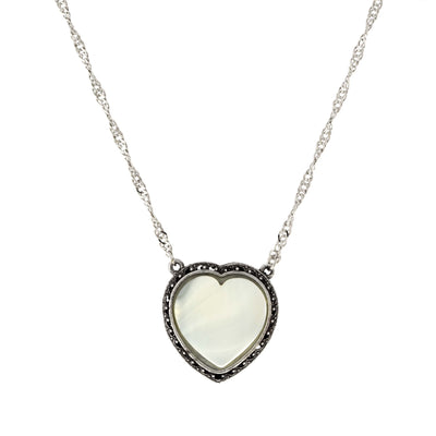 Silver Tone Gemstone Costume Mother Of Pearl Heart Necklace 16   19 Inch Adjustable